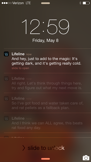 Lifeline interactive fiction lockscreen