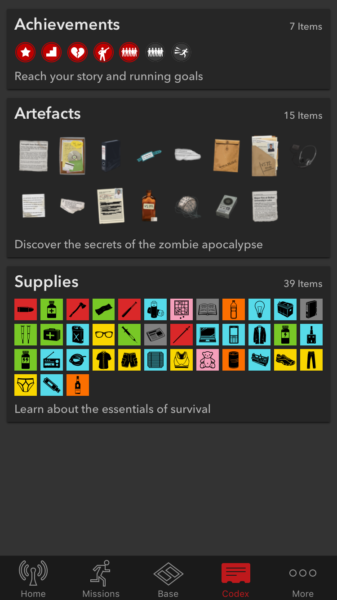 Items in Zombies Run