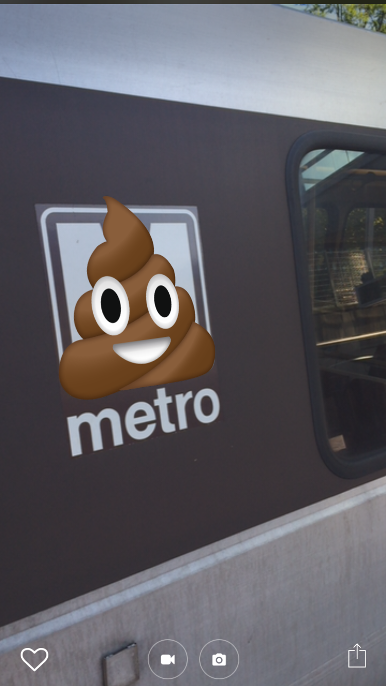 Augmented reality that turns Metro's logo into the poop emoji.