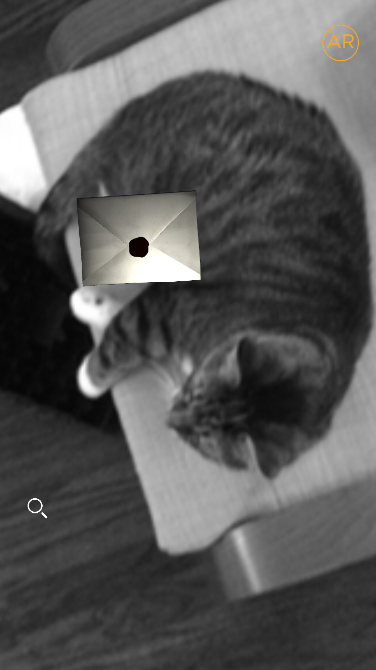 Silent Street's old augmented reality, on my cat