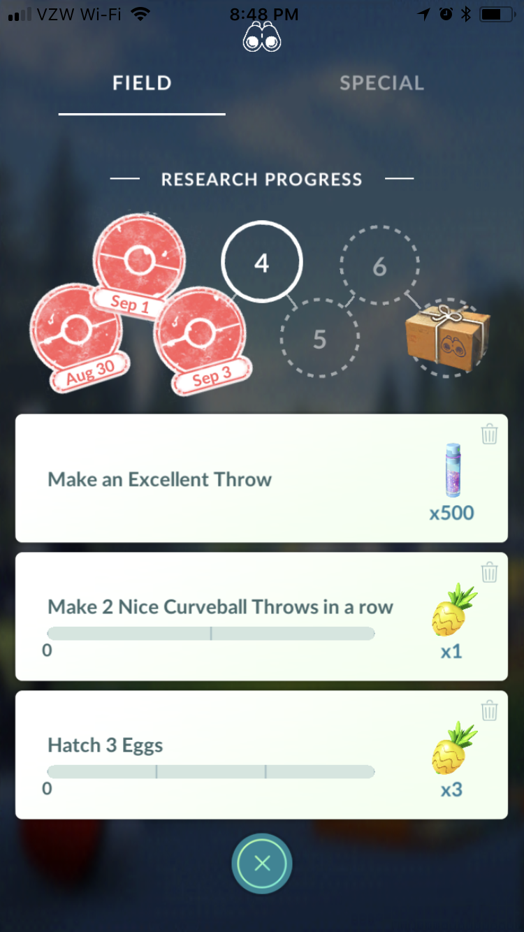 Pokemon Go Research Tasks