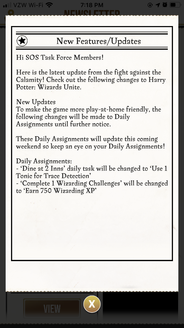 Wizards Unite update