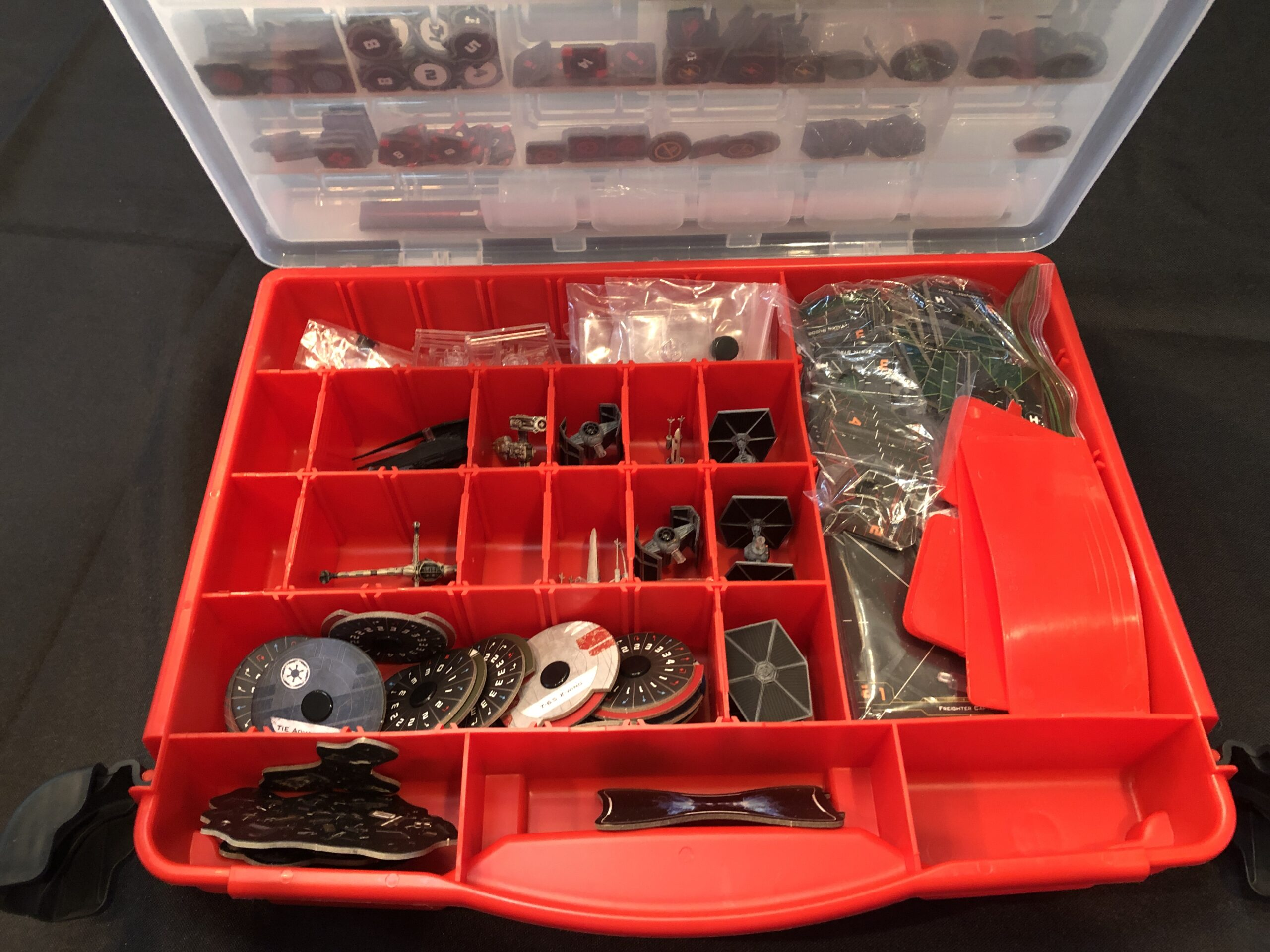 X-Wing Miniatures Game, need a tackle box to hold it all.