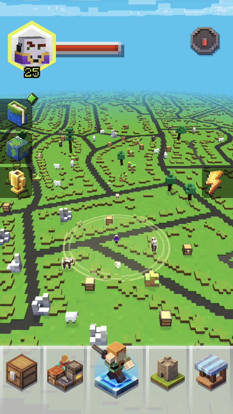 The world map in the location-based, augmented reality game, Minecraft Earth.