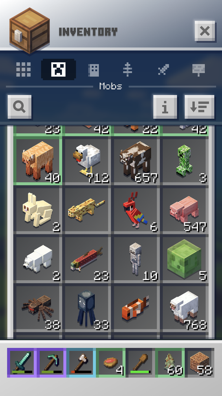 My inventory in Minecraft Earth is enormous.