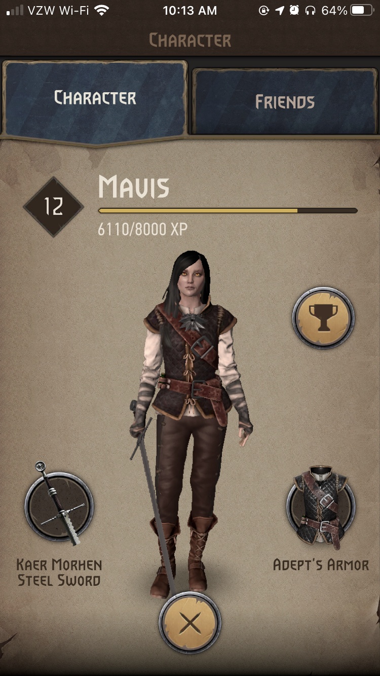 A screenshot from The Witcher: Monster Hunt which shows the character screen.