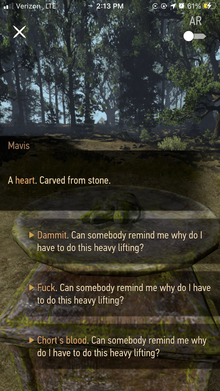 An example of dialogue choices in The Witcher: Monster Slayer