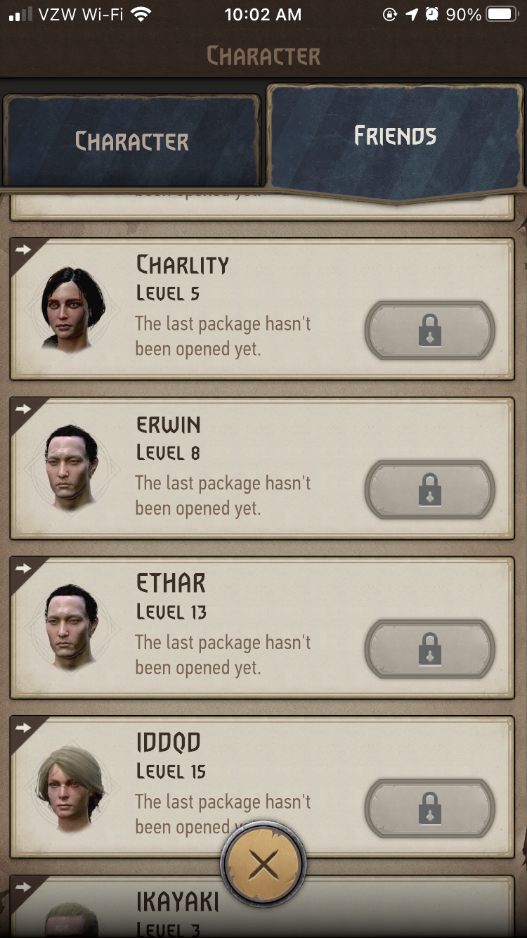 A screenshot from The Witcher: Monster Slayer showing my friends list and how they're all inactive.